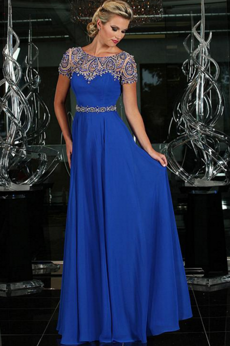 Charming Chiffon Neckline A-Line Prom Dresses With Beads ,evening dresses