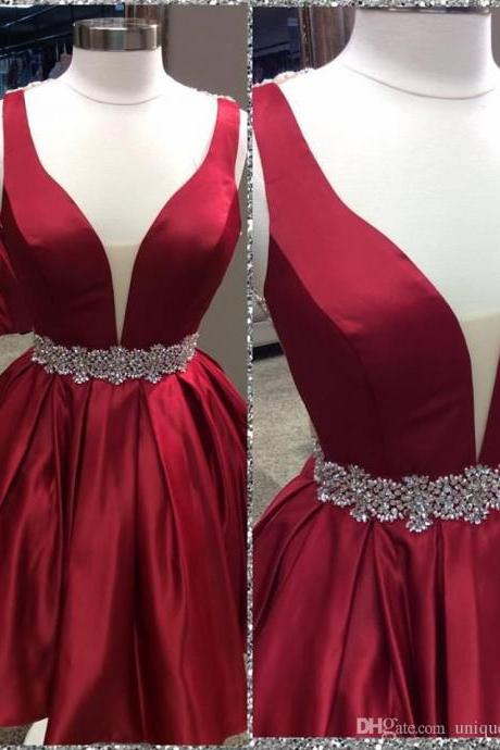 Cute A-line Dark Red Homecoming Dress with Open Back