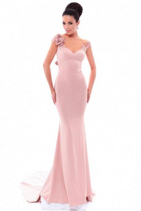 5b7e99df Showy Acetate Satin Bateau Neckline Cap Sleeves Sheath / Column Prom Dress  With Beaded