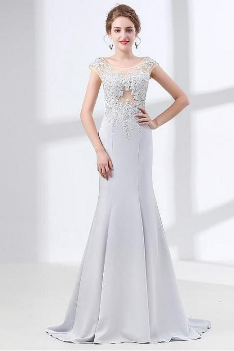 NEW! Splendid Stretch Linens Scoop Neckline Cap Sleeves Mermaid Evening Dress With Lace Appliques & Rhinestones