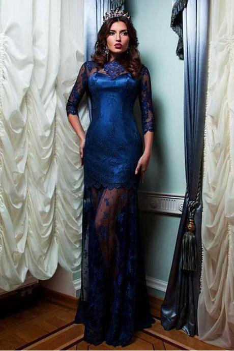 NEW! Excellent Lace High Collar Neckline 3/4 Length Sleeves Sheath / Column Evening Dress With Lace Appliques