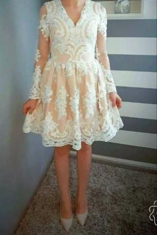 Champagne/Ivory Short Lace Dress with Long Sleeves