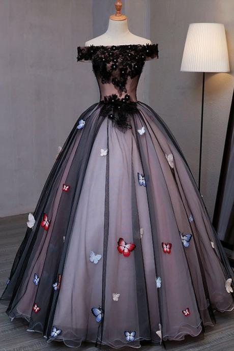 Princess black tulle off shoulder long evening dress with butterfly appliqués, long strapless black prom dress