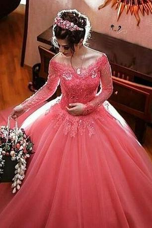 2018 Pink Quinceanera Ball Gown Dresses Off Shoulder Long Sleeves Lace Appliques Beaded Tulle Puffy Sweet 16 Party Long Prom Evening Gowns