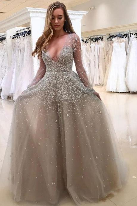 A-line Grey Tulle with Beaded Deep V-neck Sexy Prom Dresses with Sleeves