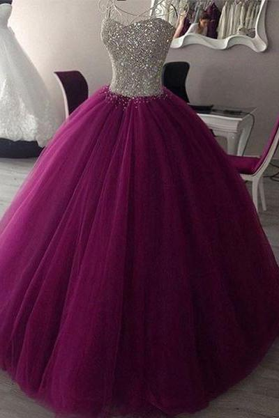 SWEETHEART NECK TULLE BURGUNDY PROM DRESS, EVENING GOWN, SWEET