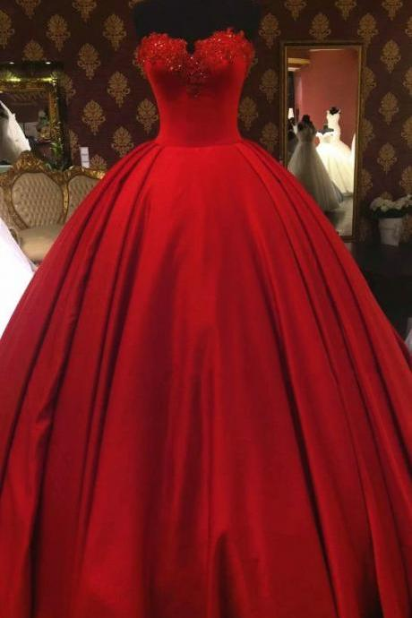 Red Tulle Ball Gowns,Floor Length Prom Dresses strapless,Beading Wedding Dresses,Bridal Dress