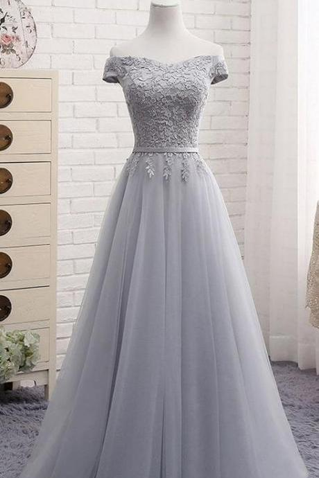 Tulle Prom Dress,Lace Prom Dress,Gray tulle Prom Dress,CHeap Prom Dress,off shoulder long A-line senior prom dress, simple bridesmaid dress