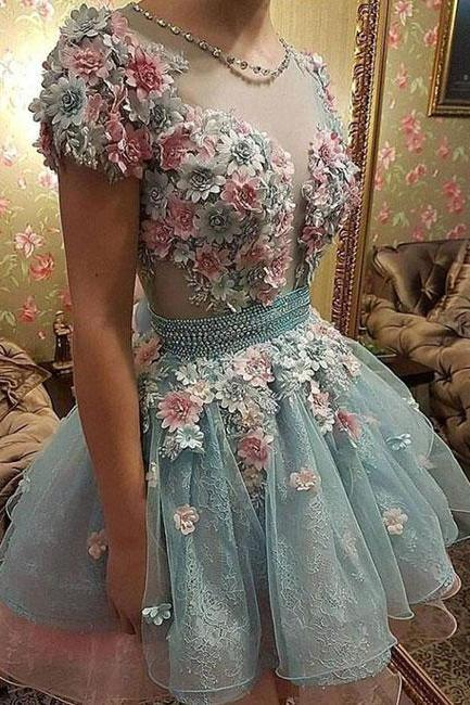 Cute 3D flowers short prom dress, homecoming dress