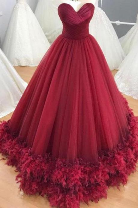 Charming Prom Dress, Tulle Red Prom Dresses, Long Evening Dress, Formal Gown