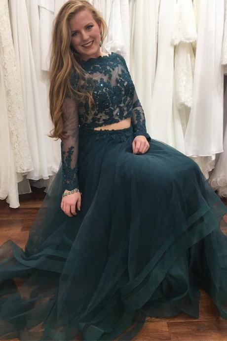 Charming Prom Dress, Long Sleeve Tulle Prom Dresses, Appliques Long Evening Dress, Party Dress