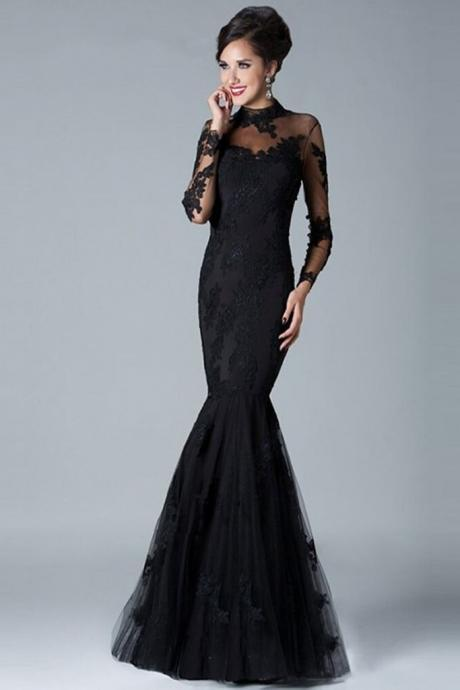 Charming Long Sleeves High Neck Black Lace Mermaid Prom Dresses