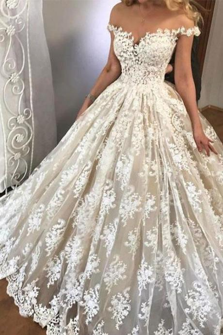 Amazing white lace off shoulder long prom gown, wedding dress