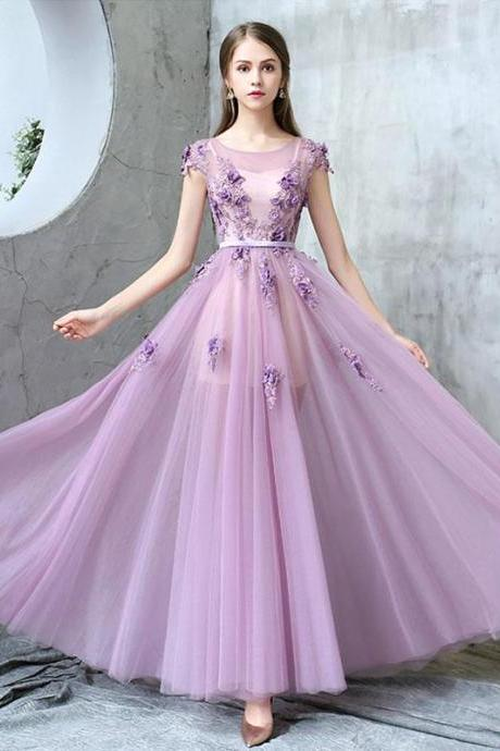Purple round neck tulle long prom dress, purple evening dress