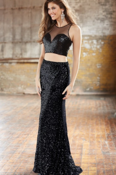 Black Sequin Mermaid Long Prom Dress,O-NECK Prom Dress