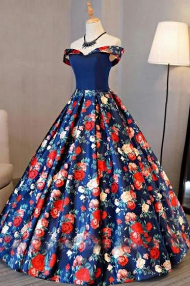 A-Line Off-the-Shoulder Sweep Train Royal Blue Printed Satin Sleeveless Prom Dress