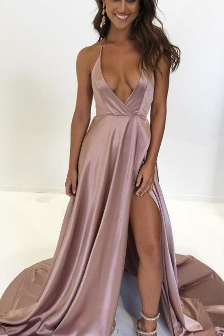 deep v neck blush pink long prom dress with side slit