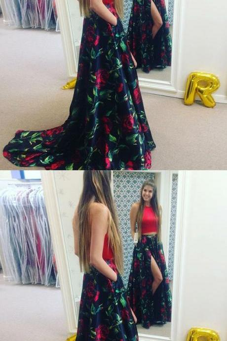 Two Piece Round Neck Red Floral Satin Prom Dresses