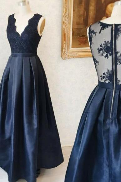 A-Line Deep V-Neck Floor-Length Navy Blue Satin Sleeveless Prom Dress with Appliques