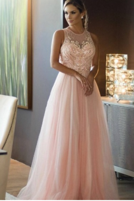 Blush Pink Prom Dress with Beaded Bodice