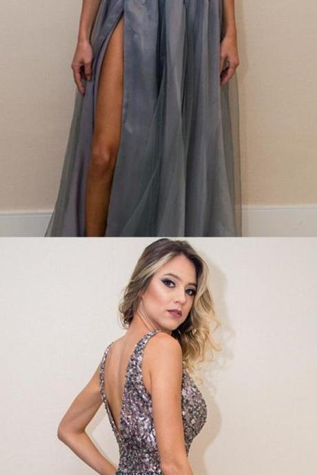 Shinning Beads and Crystal Sexy Prom Dresses 2018,High Leg Slit Long Prom Dresses,Sparkling Evening Party Gown