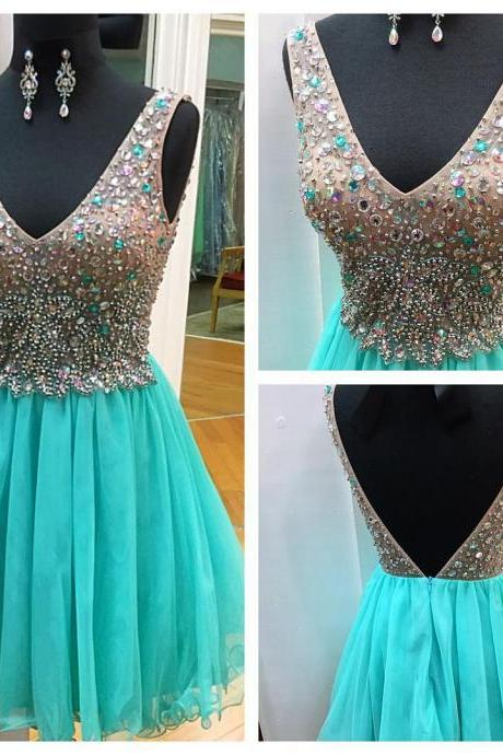 Homecoming Dresses,Sexy Short Prom Dress,Crystal and Beads Cocktail Dress,Graduation Dresses