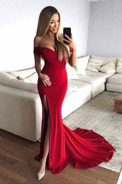 Sexy Slit Red Prom Dress,Mermaid Off Shoulder Sleeves Party Dress,Mermaid Red Bridesmaid Dress