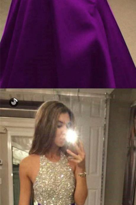 Charming Beaded Halter Long Satin Open Back Prom Dresses 2018 Purple Evening Gowns For Formal Occasions