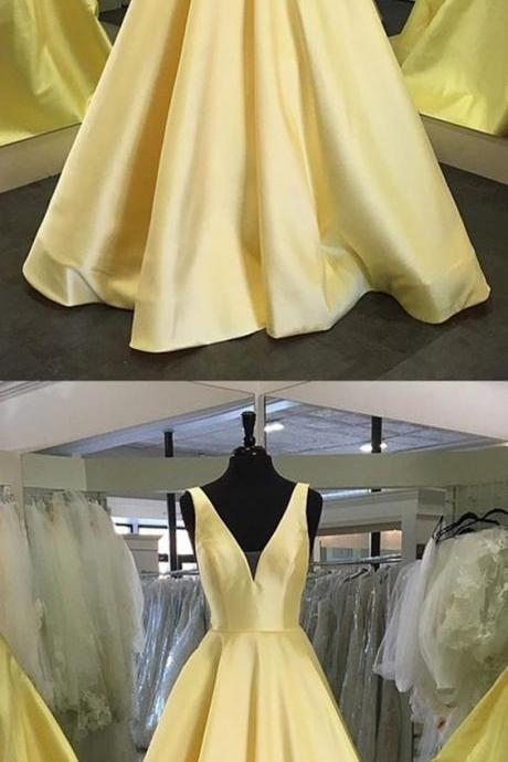 Sexy Deep V-neck Long Satin Floor Length Prom Dress Backless Yellow Evening Gowns