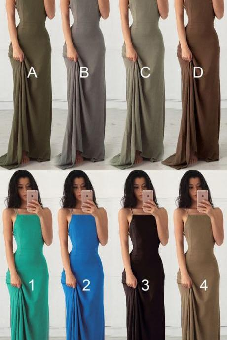 Maxi Long Dress, Backless Long Party Dress, Sheath Formal Gown
