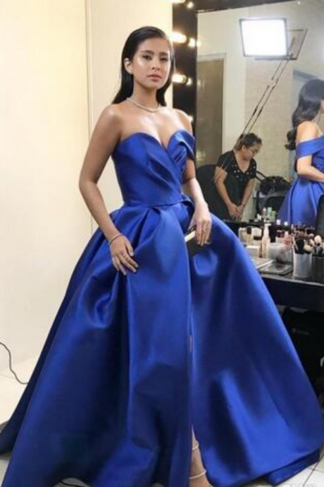 Sexy V Neck Formal Gown, Open Back Prom Dress With High Royal Blue Front Split Dresses Evening Wear Sweetheart Sexy Backless Satin Prom Gowns Plus Size Formal Special Occasion Pageant Dress