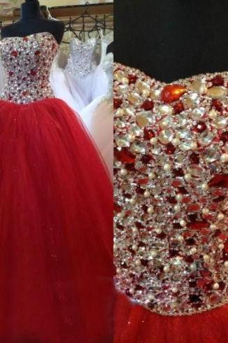 Sexy Prom Dress,Sleeveless Ball Gown Prom Dress,Open Back Evening Dress, Evening Party Dresses,Red Tulle Quinceanera Dresses