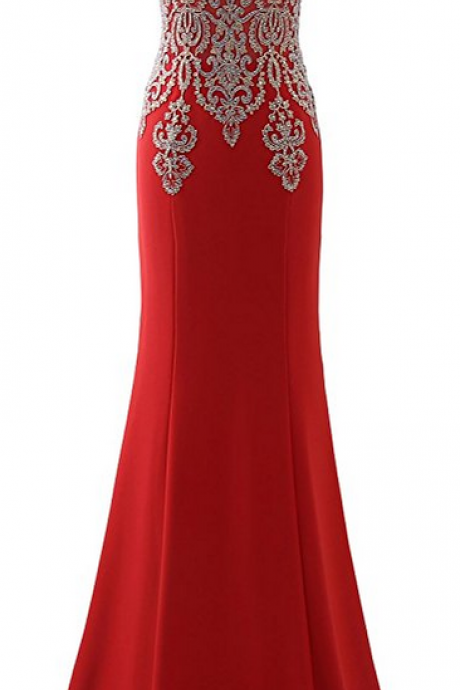 Red Beaded Embellished High Halter Neck Floor Length Chiffon Trumpet Evening, Prom Dress Featuring Keyhole Front