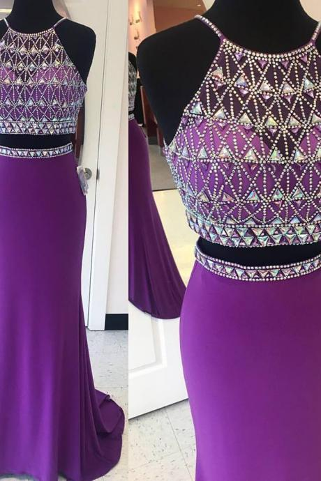 Halter Beaded Sparkly 2 Pieces Prom Dresses,Purple Jersey Mermaid Prom Gowns,Shinny Formal Dresses,Long Two Pieces Party Dresses
