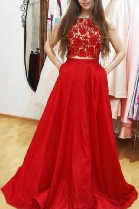 two piece prom dresses, sexy Prom Dress,Lace Prom Dress,red prom dresses for women, long prom gowns