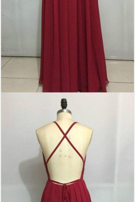 Burgundy Prom Dress, Long Prom Dresses, Cheap Prom Dress,Sexy Chiffon Prom Dress, Backless Party Dress