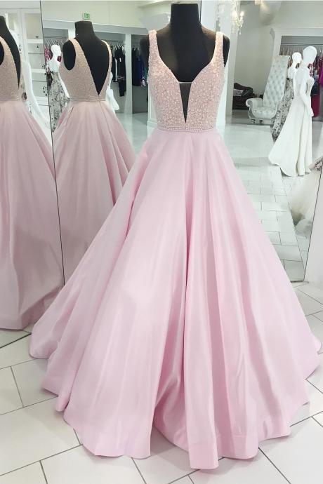 Decent A-Line Deep V-Neck Sleeveless Open Back Pink Satin Long Prom/Evening Dress with Beading