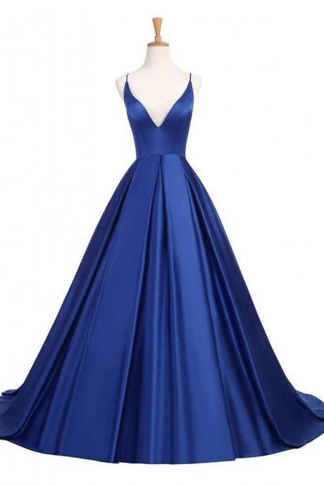 A-line/Princess Halter Simple Cheap Royal Blue Prom Dresses