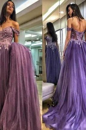 Purple Prom Dresses Long Off Shoulder Tulle Lace Appliques Women Formal Wear Evening Dress Zipper Back Sexy Party Gowns