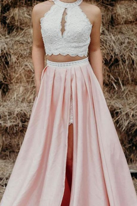 two piece white and pink long prom dress, prom dress with side slit, prom dress with pockets