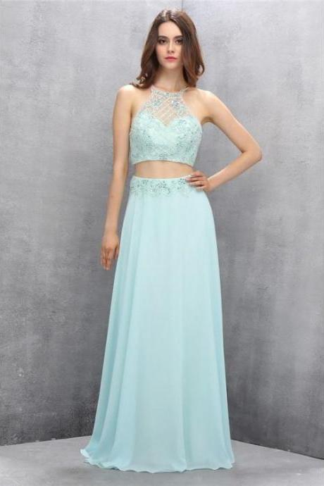 Custom Made Comfortable Sleeveless Prom Dresses, Light Blue Sleeveless Prom Dresses, Two Piece Prom Dresses, Mint Chiffon Two Pieces Beading Backless Formal Prom Dresses