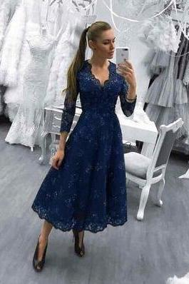 Navy Blue Long Evening Dress, Lace Prom Dresses for Teens,Elegant Appliques Lace Prom Dress, Cheap Prom Dress