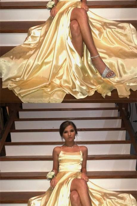 Long Yellow Satin Open Back Prom Dresses Leg Slit Evening Gowns
