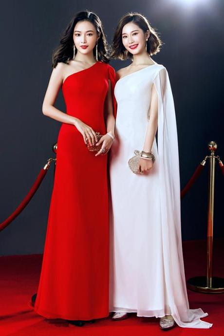 Simple One Shoulder Floor Length Prom Dresses