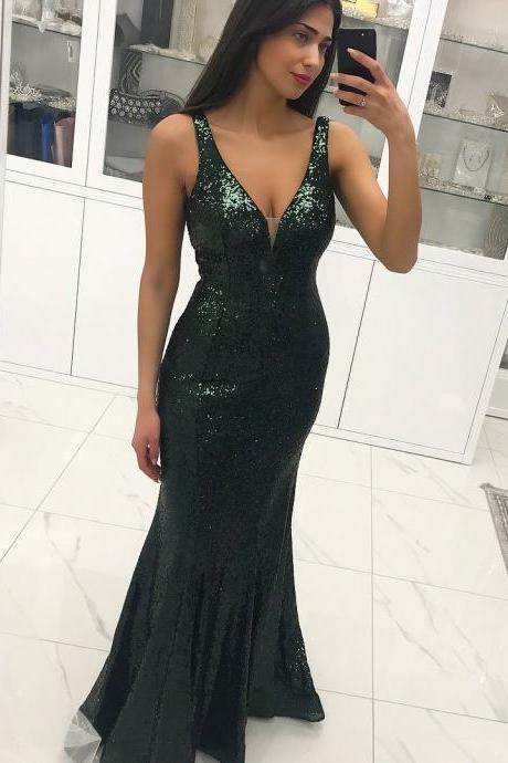 Sexy Long Green Mermaid Lace Prom Dresses Sequins Backelss Formal Evening Dress
