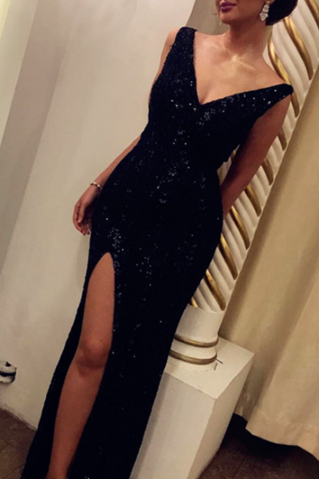 Black Sequins Sheath Evening Dresses Gowns Long