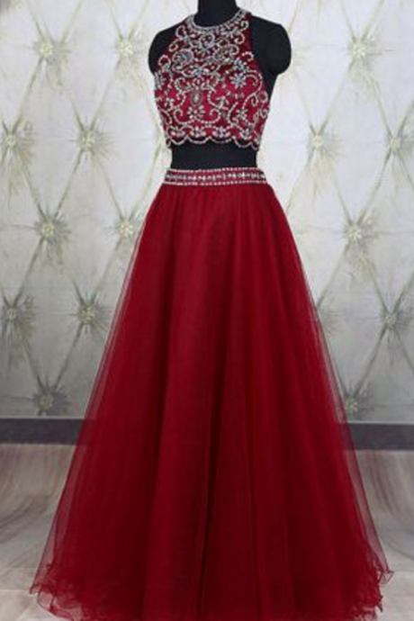 Two Pieces Prom Dress,red prom dress,high quality prom dress,beautiful beading dress,elegant wowen dress,party dress,evening dress