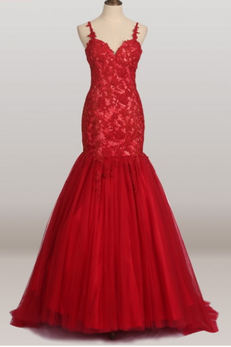 Red gauze mermaid lace wedding gown evening party dress for the graduation party dress