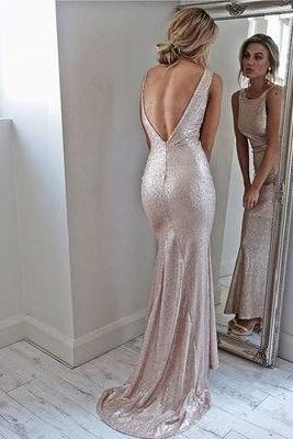 Glitter Crew Neck Sleeveless Floor Length Trumpet Evening Dress Featuring Open Back and Sweep Train