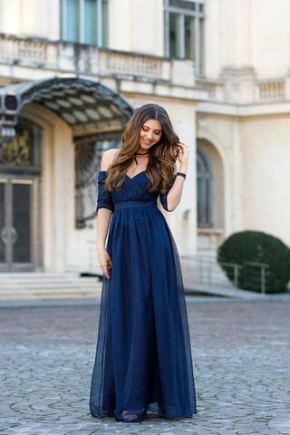 Navy Blue Tulle Off-The-Shoulder Sweetheart Half Sleeves Floor Length A-Line Prom Dress